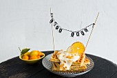 Waffles with love chain and dried citrus slices