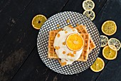 Waffles with dried citrus slices