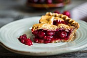 Slice of homemade cherry pie