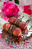 Sweet strawberry and chocolate skewers