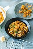 Girandole with mushrooms and pancetta
