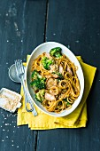 Pasta with broccoli and pork fillet