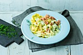 Pappardelle with creamy kohlrabi and North Sea shrimps