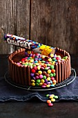 A chocolate cake with Smarties