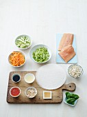 Ingredients for rice paper rolls with salmon
