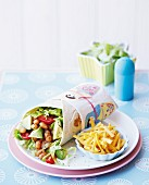 Mexican wraps with baked beans and avocado