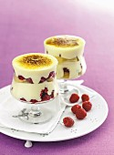 White chocolate and raspberry creme brulee