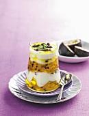 Passionsfrucht und Pistazien Dessert