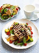 Swordfish and warm panzanella salad