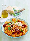Roasted capsicum and chorizo orechiette