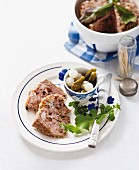 Pork pâté with dried plums and pickles