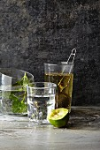 Water with lime, fresh mint and tea in a tea infuser
