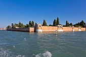 Walls surrounding the cemetery island of San Michele near Venice, Italy