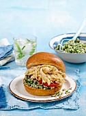 Coronation chicken burger