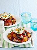 Crispy potato & ham with eggs