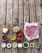 Ingredients for porterhouse steak with a chickpea salad