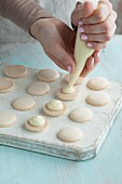 Vanilla macaroons being made