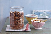 A jar of muesli as a snack