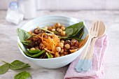 Chickpeas salad with young spinach and dates