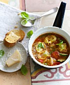 Summer minestrone with tortelloni