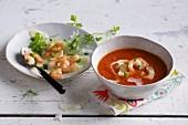 Tomato and papaya soup with prawns