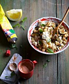 Aubergine and couscous with feta cheese