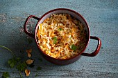Almond and carrot rice with parsley