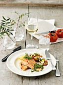 Char fillet with tomato salad