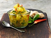 Pineapple salsa with ginger and chillis