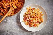 Spicy cajun pasta made with andouille sausage, tomatoes and cheese