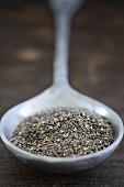 Chia seeds on a metal spoon