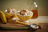 Salted butterscotch caramel ice cream with bananas and rum