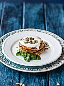 Gluten-free pumpkin pancakes with quince and pumpkin seeds