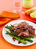 Sirloin with special barbecue sauce & asparagus