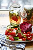 Pickled vegetables from Russia (red cabbage, watermelon, cucumber, celery, tomatoes, garlic, dill)