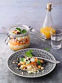 Carrot and couscous salad with chickpeas from a jar
