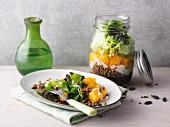 Kürbis-Linsen-Salat aus dem Glas