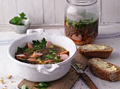 Lentil soup with sausages from a jar