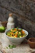 Sweet potato and pineapple salad with chilli and a peanut dressing