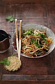 Oriental rice noodle and seaweed salad with sesame seeds and ginger dressing