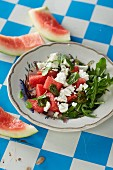 Watermelon and feta cheese salad with pistachio and mint pesto