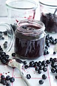 Jars of wild blueberry jam