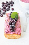 Cherry blossom cake with frozen blackberries and raspberry yoghurt