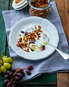 Crunchy muesli with soured milk and grapes