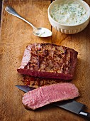 Medium-rare roast beef with remoulade