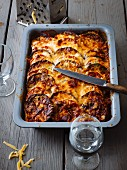Moussaka with potatoes, aubergines and tomatoes