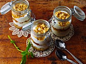 Layered, Greek-style desserts with yoghurt and nuts