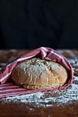 Frisch gebackenes Brot im Geschirrtuch