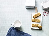 Breakfast bars with banana chips, dates and coconut chips (Paleo diet)