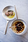 Correggioli con broccoletti e salsiccia (pork fillet with caramel figs, Italy)